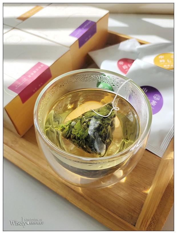 網購分享。申時七茶︱來自台灣南投杉林溪的手採好茶 (PLA三角立體茶包,可熱沖冷泡):高山烏龍、迎香烏龍、奶香金萱、蜜香貴妃~特價販售中